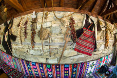 Wall in a tavern in Zheravna. Mountain eco-village Zheravna - Bulgarian national carpet center, rural tourism, national rural architecture and a popular tourist royalty free stock image