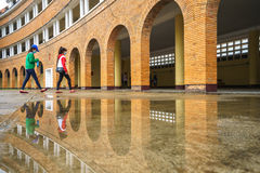 Wall of Teacher College of Dalat after the rain Stock Images