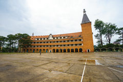 Wall of Teacher College of Dalat after the rain Royalty Free Stock Photography