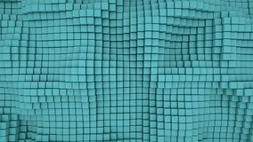 Wall of teal 3D boxes abstract background. Wall of teal boxes. Abstract background. 3D rendering Stock Images