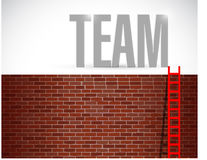 Wall and team ladder illustration Stock Image