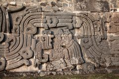 Wall of the Temple of the Feathered Serpent Royalty Free Stock Images