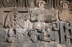 Wall of the Temple of the Feathered Serpent Stock Photography
