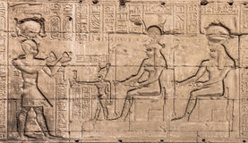 Wall of the temple of Hathor at Dendera.  Royalty Free Stock Images
