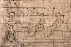 Wall of the temple of Hathor at Dendera. Wall of the temple of Hathor at Dendera Stock Photo
