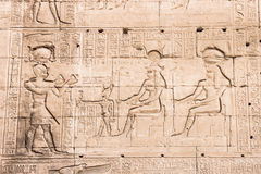 Wall of the temple of Hathor at Dendera. Royalty Free Stock Image