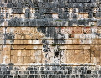 Wall of the Temple of the Jaguars in Chichen Itza. Ancient Mayan carvings on the wall of the Temple of the Jaguars in Chichen Itza, Yucatan, Mexico Stock Image