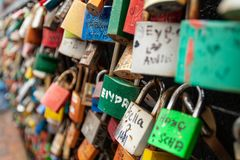 Hundreds of padlocks in Malaysia royalty free stock photography