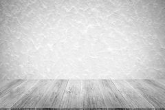 Wall texture background , process in white color with wood terra Stock Photo