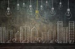 Wall texture with light bulbs Royalty Free Stock Photos