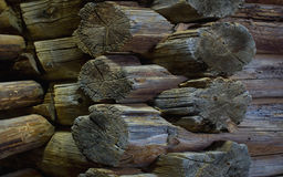 Wall texture of an old house of logs Stock Images
