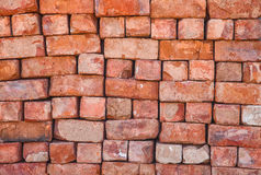 Wall texture of old red brick. Close up Stock Photos