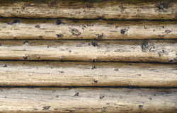 Wall of thick timber beams Stock Photos