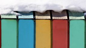 Wall with three colors, colored boards, snow Royalty Free Stock Image