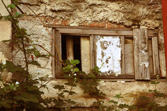Wall of the thrown house. Royalty Free Stock Photo