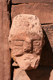 Wall of Tiahuanaco stone face b. Stone face built into a wall in Tiahuanaco or Tiwanaku, the capital of the Pre-Inca Civilization in Bolivia Stock Photos