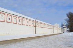 Wall of Tikhvin Uspensky monastery Royalty Free Stock Image
