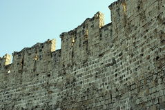 Wall tip of the medieval fortress on the island of Rhodes in Greece Royalty Free Stock Image