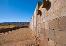 Wall of Tiwanaku, Bolivia Royalty Free Stock Images
