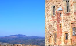 Wall of Tocnik castle over blue sky Royalty Free Stock Image