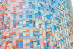 Wall of Torre Agbar skyscraper in Barcelona stock image