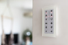 Wall touch panel to control intelligent house devices Stock Photography