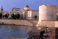Wall and tower Alguero town Sardinia Italy royalty free stock images