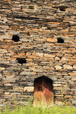 The wall of the tower in Dartlo village. Tusheti region (Georgia) Royalty Free Stock Images