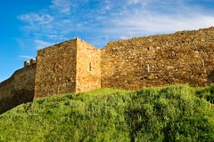 Wall and tower of genoese fortress Royalty Free Stock Photography
