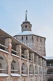 Wall and tower of Kirillo-Belozersky monastery. Inner wall with Vologodskaya tower of Kirillo-Belozersky monastery, Russia Stock Image