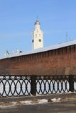 Wall and tower of Kremlin (Detinets). Veliky Novgorod, Russia Royalty Free Stock Photo