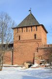 Wall and tower of Kremlin, Veliky Novgorod, Russia Royalty Free Stock Images