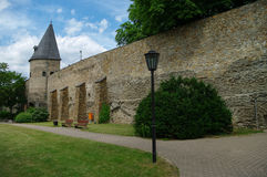 Wall and tower of medieval fortress, Schlossgarten, in Andernach Stock Image