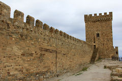 Wall and tower of medieval Genoese fortress Royalty Free Stock Photos