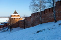 The wall and tower of the Nizhny Novgorod Kremlin Royalty Free Stock Image