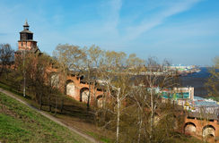 Wall and tower of Nizhny Novgorod Kremlin Stock Photo