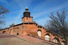 Wall and tower of Nizhny Novgorod Kremlin Royalty Free Stock Photo
