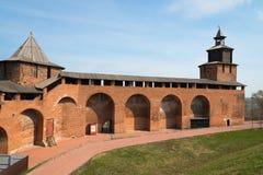 Wall and tower of Nizhny Novgorod Kremlin royalty free stock images