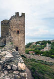 Wall and tower of old fortress Kafa in Feodosia Stock Image