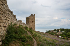 Wall and tower of old fortress Kafa in Feodosia Royalty Free Stock Photography