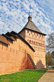 Wall and tower of old russian monastery Stock Image