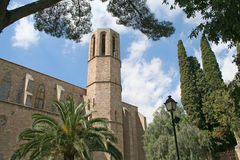 The wall & tower of Pedralbes abbey. Royalty Free Stock Images