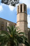 The wall & tower of Pedralbes abbey. royalty free stock image