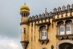 Wall and Tower of Pena Palace in Sintra near Lisbon Royalty Free Stock Photography