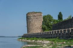 Wall and tower of  Smederevo Fortress is a medieval fortified ci. Ty in Smederevo, Serbia, which was temporary capital of Serbia in the Middle Ages Stock Photography