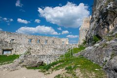 Wall and tower of Spis Castle, Slovakia at summer day stock images