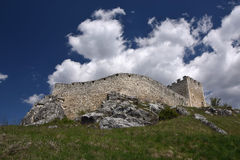 Wall and tower of Spis Castle, Slovakia at summer day. Wall and tower of Spis Castle - Spissky hrad, National Cultural Monument (UNESCO), Slovakia at summer stock photos