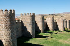 Wall and towers. Avila in Spain, wall and defensive towers royalty free stock photography