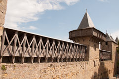 Wall and towers of Carcassonne. France stock photos