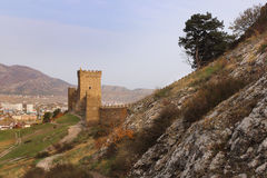 The wall and towers of Genoese fortress in Crimea peninsula Stock Images